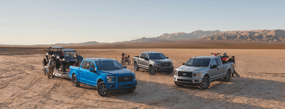 2020 Ford F-150 various trims all parked together